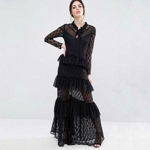 True Decadence Petite Tiered Lace Frill Maxi Dress